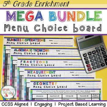 Math Enrichment Projects Choice Board Bundle – All 5th Gra
