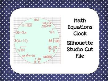 Math Equation Clock {Silhouette Cut File}