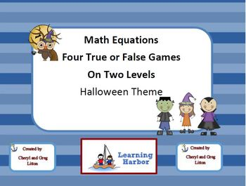 Math Equations  Four True or False Games on Two Levels - H