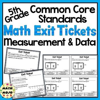 Math Exit Slips - 5th Grade Common Core Measurement and Data