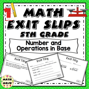 Math Exit Slips - 5th Grade Common Core Number and Operati