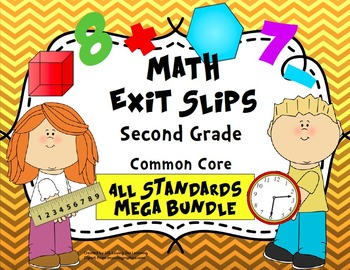 Math Exit Slips Second Grade CCSS Mega Bundle