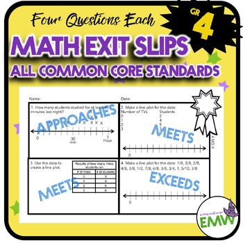 Math Exit Tickets Slips Mini Assessments All 4th grade com