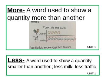 Math Expressions Grade 1 Unit 1, 2, 3 Vocabulary