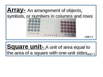 Math Expressions Grade 4 Unit 2 Vocab Cards