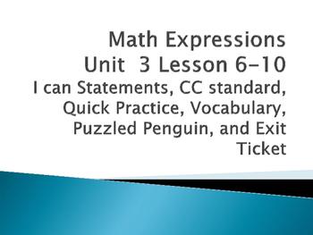 Math Expressions Unit 3 Lessons 6-10