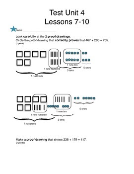 Math Expressions, Unit 4 Lessons 7-10, Proof Drawings, 3rd Grade