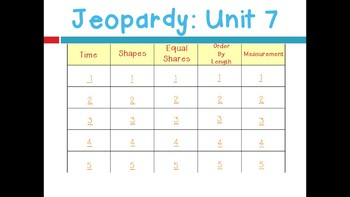 Math Expressions Unit 7 Jeopardy for 1st Grade