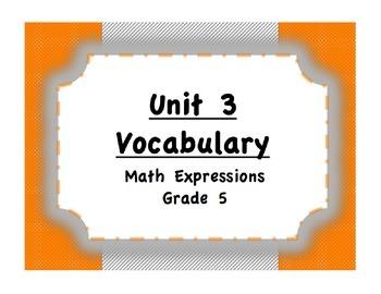 Unit 3 Place Value/Data/Word Problems Vocabulary (Math Exp