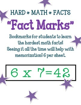 "Math Fact Bookmarks ""Fact Marks!""  * Hardest Math Facts"