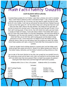 Math Fact Fluency Quizzes with student self-tracking