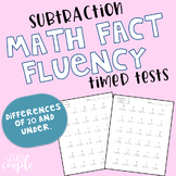 Math Fact Fluency Timed Test - Subtraction - Differences o