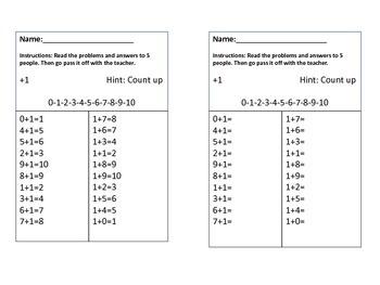 Math Fact Mastery Cards +1, 2, 3