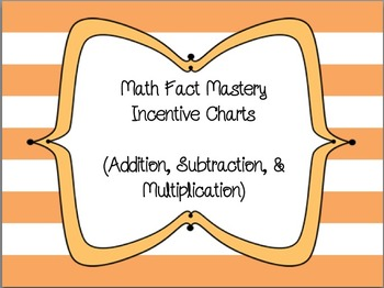 Math Fact Mastery Incentive Charts (+, -, x)
