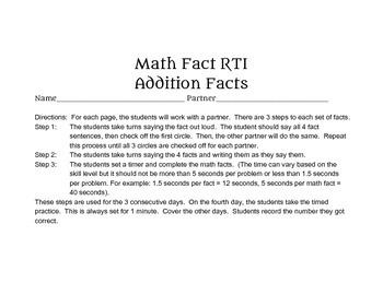 Math Fact RTI - Addition