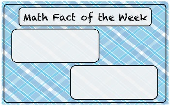 Math Fact of the Week, Addition, Subtraction, Multiplicati