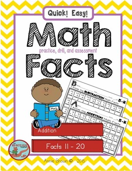 Math Facts 11-20  for Practice - Drill - Assessment   (Add