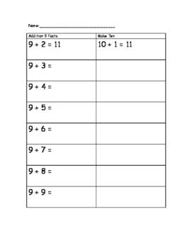 Math Facts 9 and Make Ten