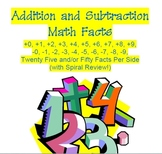 Math Facts Add & Subtract 25 50 and 100 facts With Spiral Review
