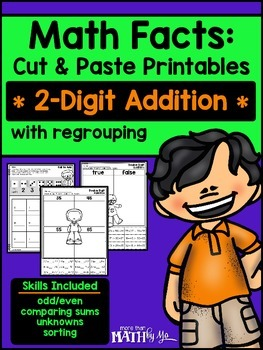 Math Facts: Cut & Paste Printables - 2-Digit Addition {Reg