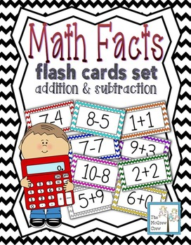Math Facts Flash Cards Addition & Subtraction Set Color Coded