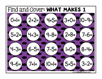 Math Facts:  Math Facts Find and Cover Activities