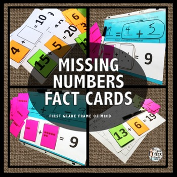 Addition Math Facts Missing Number Cards
