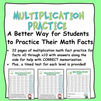Math Facts: Multiplication Practice and Tests for x0 -- x1