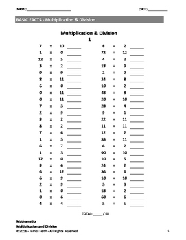 Math Facts - Multiplication and Division