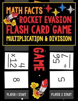 Math Facts Rocket Evasion Flash Card Game: Multiplication