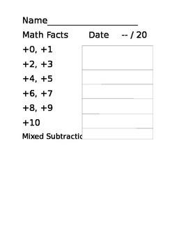 Math Facts Score Sheet