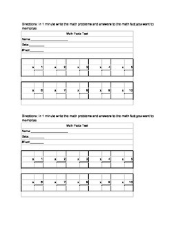 Math Facts Test Printable