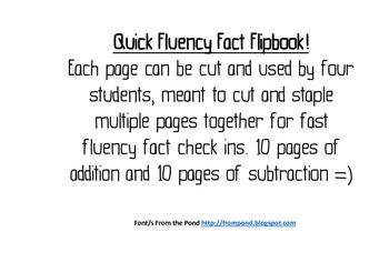 Math Fast Fluency Facts