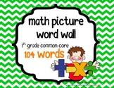 Math First Grade Common Core Vocabulary Cards - Word Wall Words