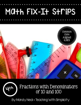 Math Fix-it Strips for Fractions with Denominators of 10 a