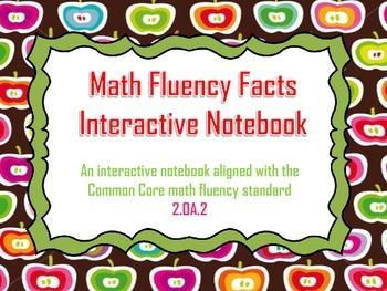 Math Fluency Facts Interactive Notebook Common Core OA.2