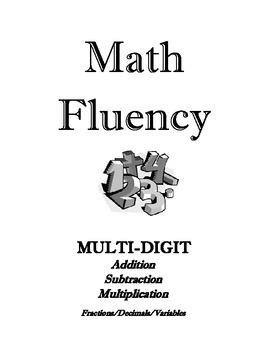 Math Fluency I-V  Multiply, Divide, Add, Subtract, Decimal