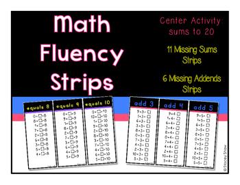 Math Fluency Strips (Flash Cards)