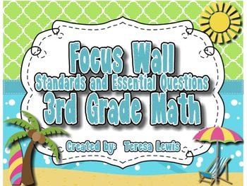 Math Focus Wall CCSS and Essential Questions for 3rd Grade