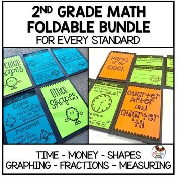 Math Foldable Growing Bundle - Time, Money, Shapes, Fracti