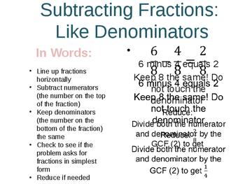 Math Fractions Cheat Sheets