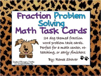 Math Fractions Common Core Dog Themed Word Problems
