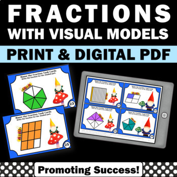 pictorial fractions with pictures task cards games activities 3rd grade