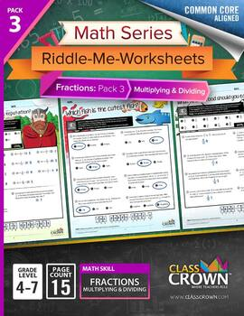Math Fractions Worksheets - Math Riddles - Pack 3 Multiply