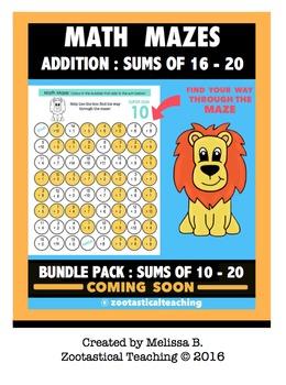 Math Fun - Addition Math Mazes - Sums of 16 - 20