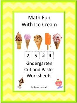Ice Cream Math Centers Cut and Paste Counting Addition Sub