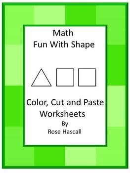 Shapes-Black Line Math Fun with Shapes  Cut and Paste Worksheets