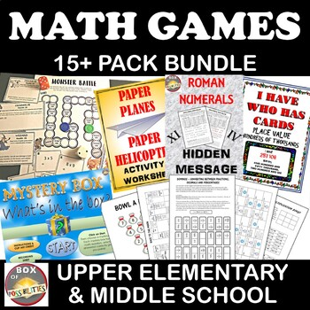 Math Game Bundle: For upper Elementary and Middle School -