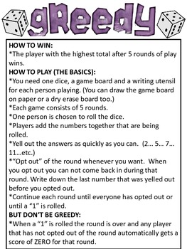 Math Game: GREEDY