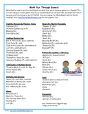 FREE Math Game List for Teachers and Parents